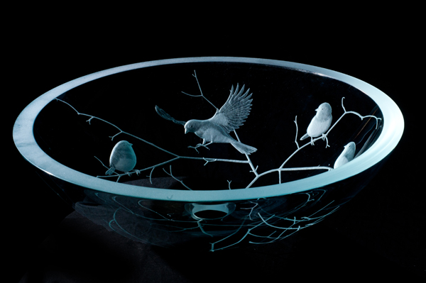 Picture of Etched Glass Vessel Sink - Birds