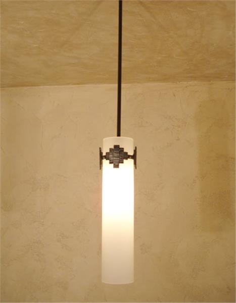 Picture of Quad Blown Glass and Forged Iron Pendant Light