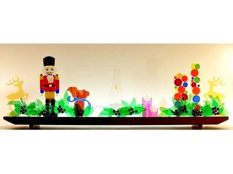 Holiday Mantlepiece Glasscape Lighting Sculpture