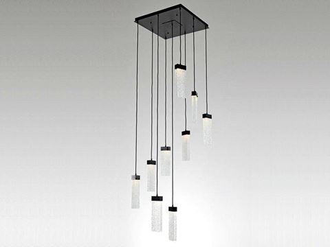 Parallel Collection Square Waterfall Pendant Chandelier 9 or 12 pc