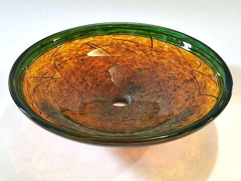 "20"" Golden Amber Nest Glass Vessel Sink"