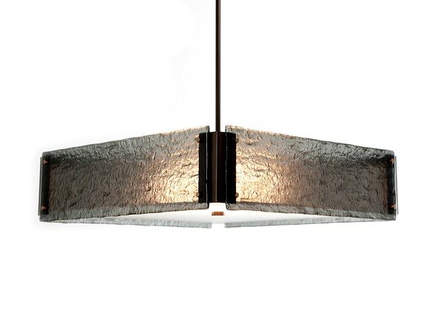 Picture of Textured Glass Square Chandelier