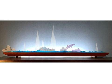Blue Regatta Glasscape Lighting Sculpture