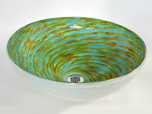 Picture of Blown Glass Sink - Green Aqua Swirl