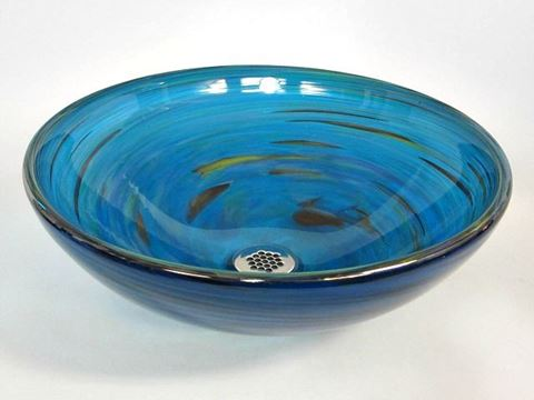Blown Glass Sink - Marine Vortex