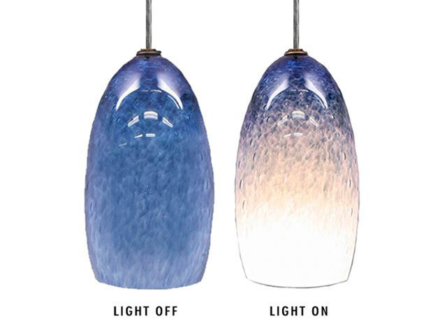 Picture of Blown Glass Pendant Light | Steel Blue