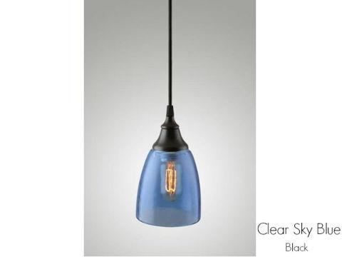 Clear Glass Pendant Light in Sky Blue