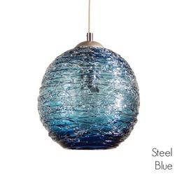 Picture of Spun Glass Pendant Light | Steel Blue