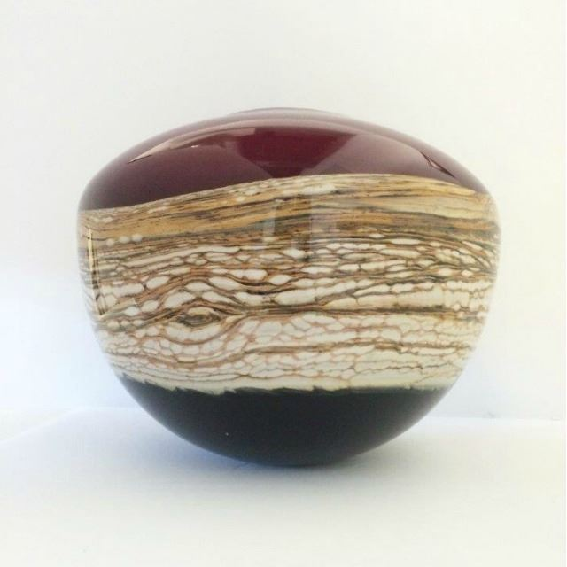 Picture of Blown Glass Vase | Ruby Round Strata