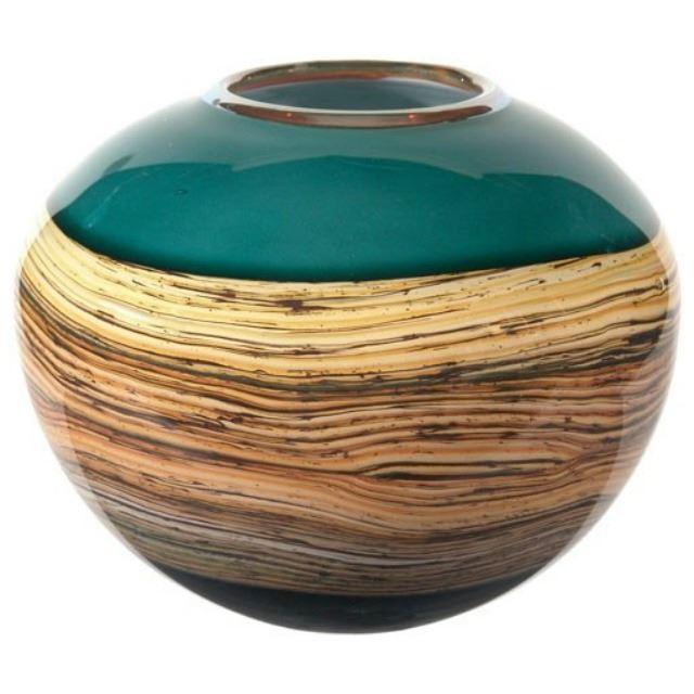 Picture of Blown Glass Vase | Sage Round Strata