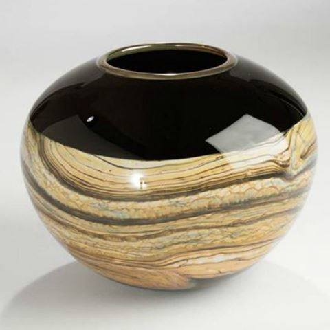 Blown Glass Vase | Black Round Strata