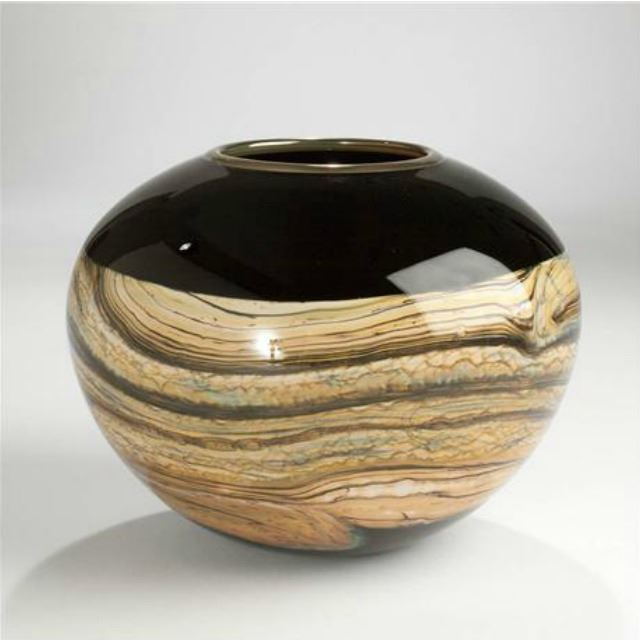 Picture of Blown Glass Vase | Black Round Strata