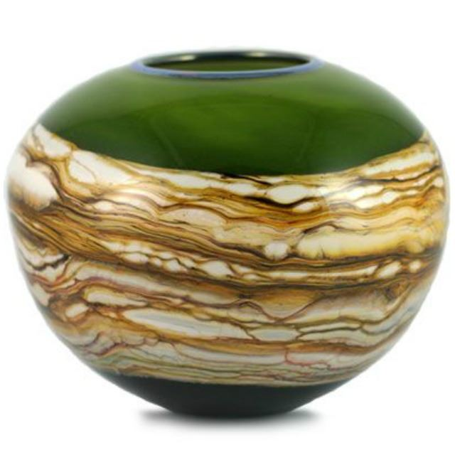Picture of Blown Glass Vase | Lime Round Strata