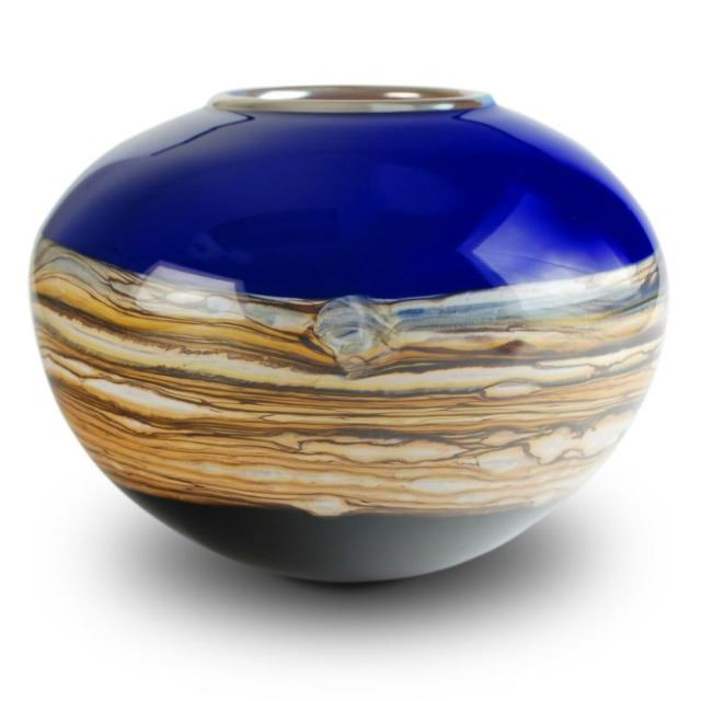 Picture of Blown Glass Vase | Cobalt Round Strata
