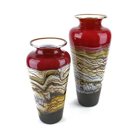 Blown Glass Vase   Ruby Strata