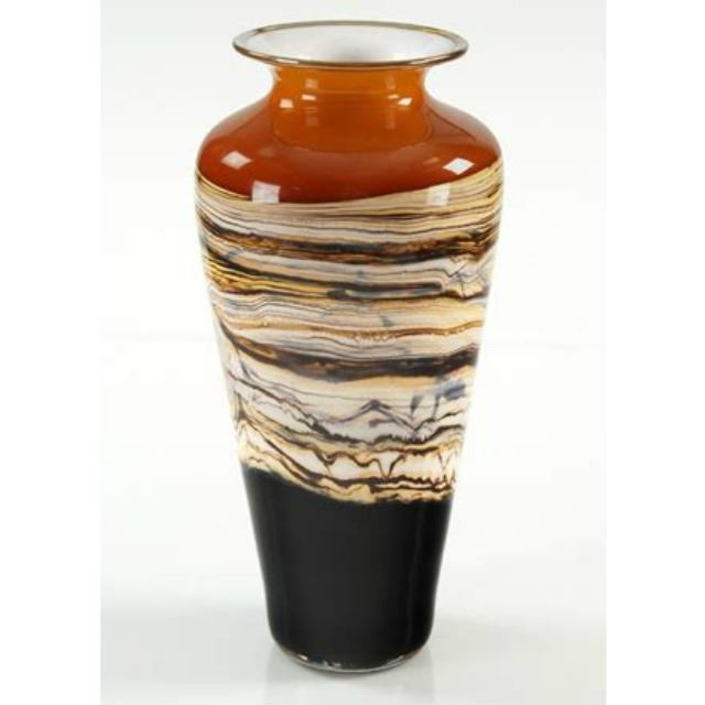 Picture of Blown Glass Vase   Tangerine Strata