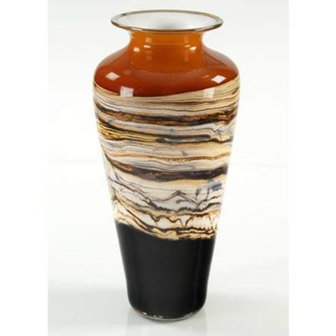 Blown Glass Vase   Tangerine Strata