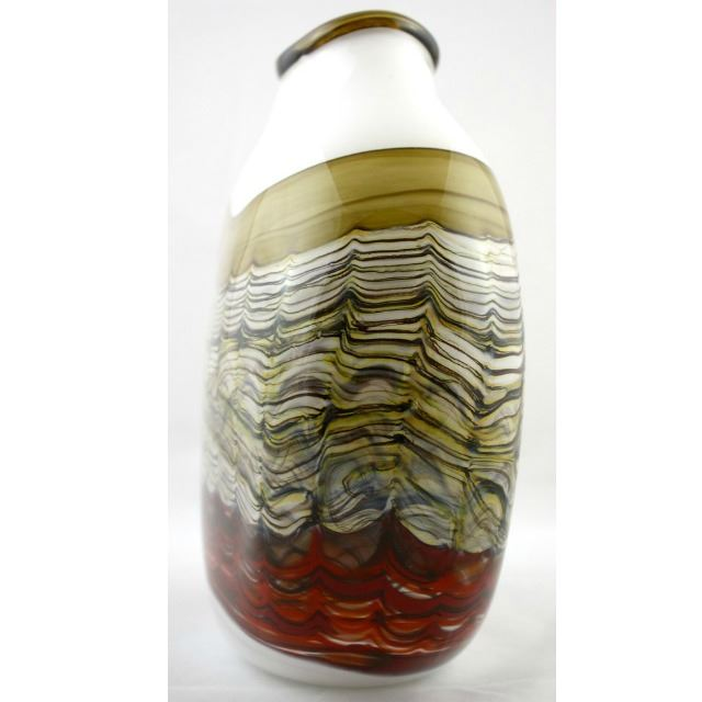 Picture of Blown Glass Flatten Vase | White Opal