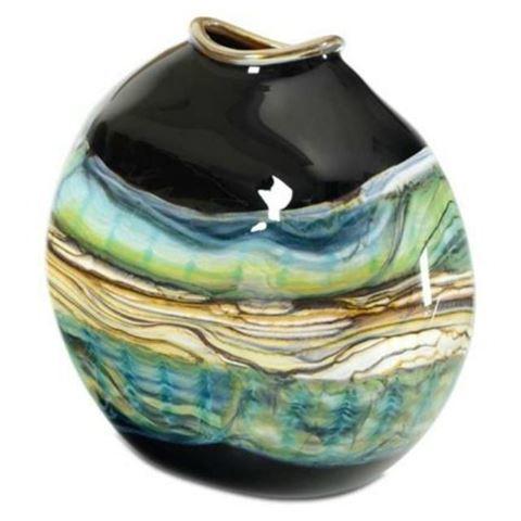 Blown Glass Flatten Vase   Black Opal