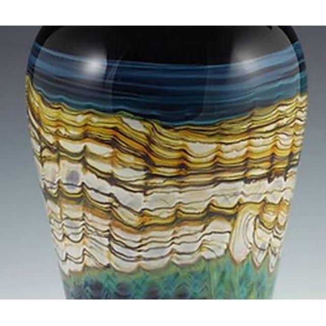 Picture of Blown Glass Flatten Vase   Black Opal