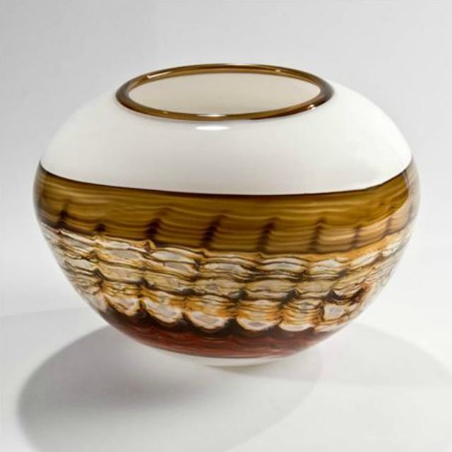 Picture of Blown Glass Vase | White Opal Sphere