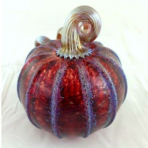 Frosted Cranberry Glass Pumpkin