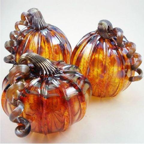 Harvest Gold Glass Pumpkin