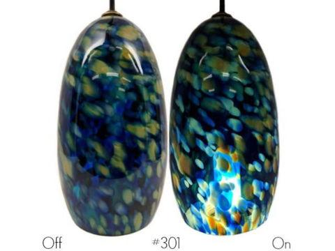 Blown Glass Pendant Light | Blue Leopard