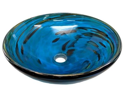 Blown Glass Sink - Marine Vortex II
