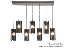 Picture of Linear Chandelier | Textured Glass | 7 pc