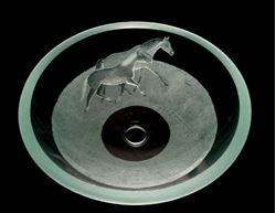 Etched Glass Vessel Sink - Horses