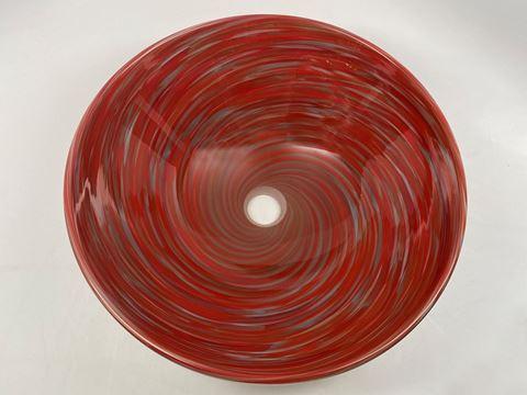 Blown Glass Sink - Crimson Grey Swirl