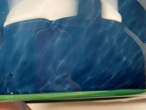 Blown Glass Pendant Light - Steel Blue Tiny Bubbles - Green Lip Wrap