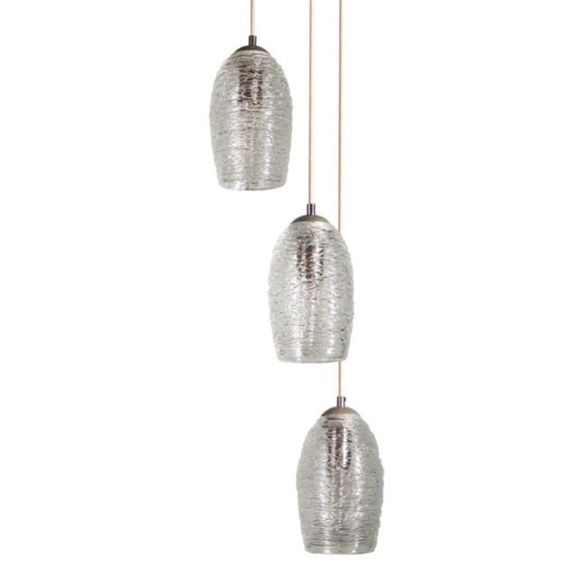 Picture of Spun Glass Cocoon Cluster Pendant Chandelier 3 Pc